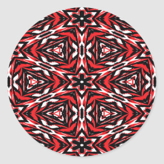Black, white and red kaleidoscope 9070 classic round sticker