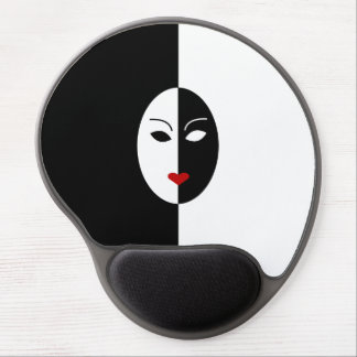 Black White and Red Mask Gel Mouse Pad