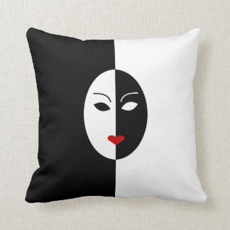 Black White and Red Mask Throw Pillow