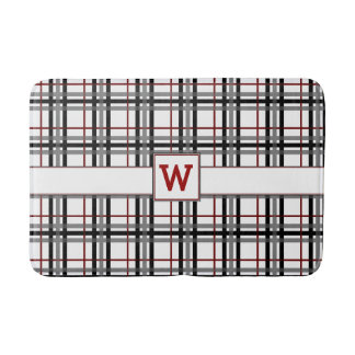 Black White and Red Plaid Bath Mat