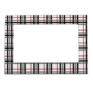 Black White and Red Plaid Magnetic Frame