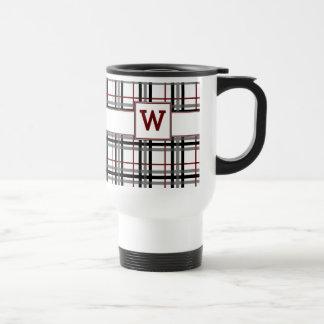Black White and Red Plaid Mug