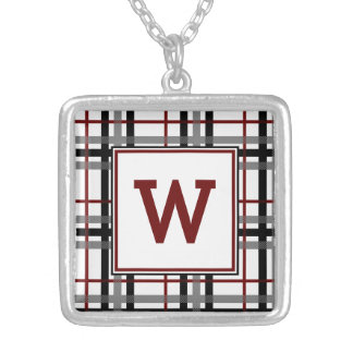 Black White and Red Plaid Necklace
