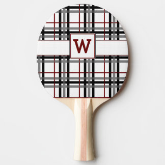 Black White and Red Plaid Ping Pong Paddle