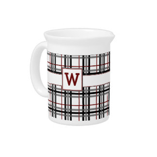 Black White and Red Plaid Pitcher