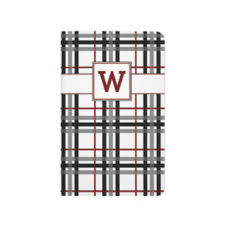Black White and Red Plaid Pocket Journal