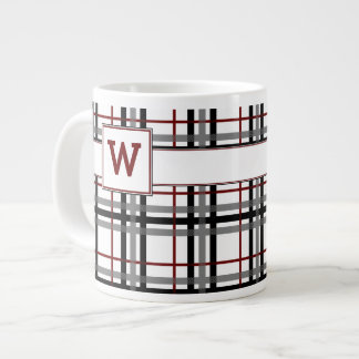 Black White and Red Plaid Specialty Mug 20 Oz Large Ceramic Coffee Mug
