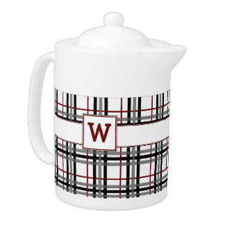 Black White and Red Plaid Teapot