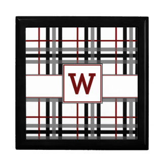 Black White and Red Plaid Tile Box