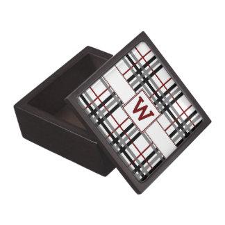 Black White and Red Plaid Trinket Box