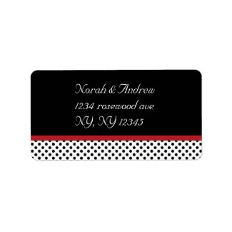 Black, white and red polka dotsAvery Label label
