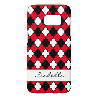 Black, White and Red Quatrefoil Seamless Pattern Samsung Galaxy S7 Case