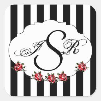 Black White and Red Rose Wedding Monogram Sticker