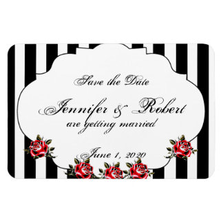 Black White and Red Rose Wedding Save the Date Magnet