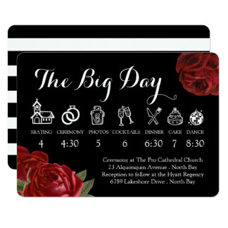Black White and Red Roses Wedding Timeline Card