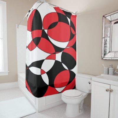 Red White Black LG Chevron 1ICBR Name Monogram Shower Curtain