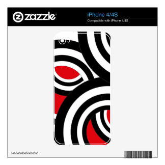 Black, white and red spiral design iPhone 4S decals
