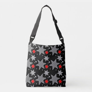 Black White and Red Star Tote