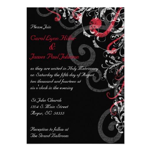 Black White And Red Wedding Invitation 5 X 7 Invitation Card