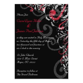"Black, White and Red Wedding Invitation 5"" X 7"" Invitation Card"