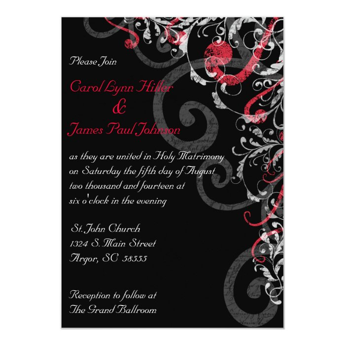 Black, White and Red Wedding Invitation | Zazzle