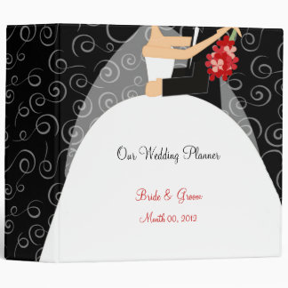 Black White and Red Wedding Planner binder