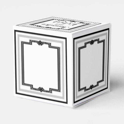 black white and silver art deco wedding favor box zazzle. Black Bedroom Furniture Sets. Home Design Ideas