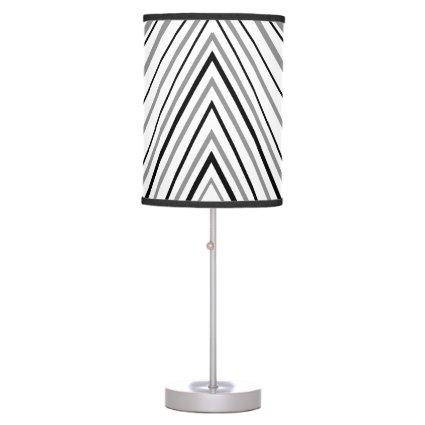 Black, White and Silver Chevron Stripes Table Lamp