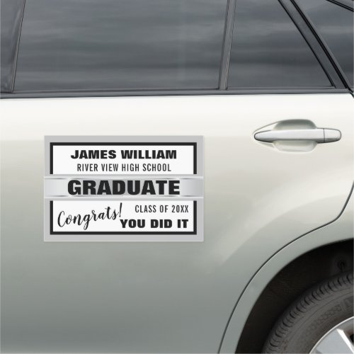 Black White And Silver Congrats Graduate 2020 Car Magnet