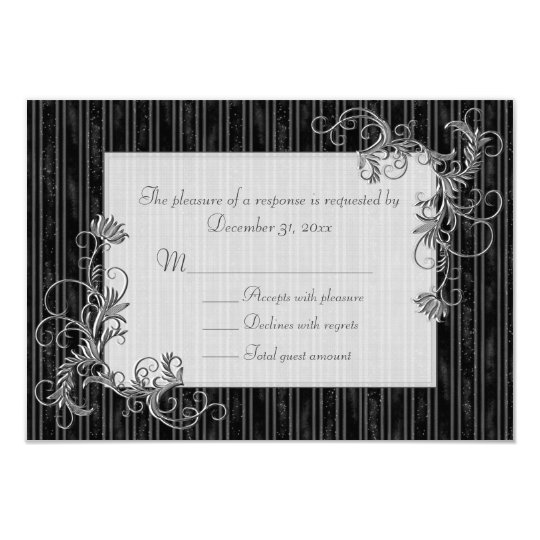 Black, White and Silver RSVP Cards - Template