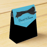Black White and Teal Blue Wedding Favor Boxes