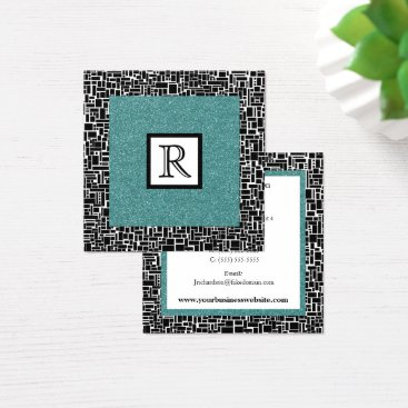 Professional Business Black White and Teal Monogrammed Abstract Square Business Card