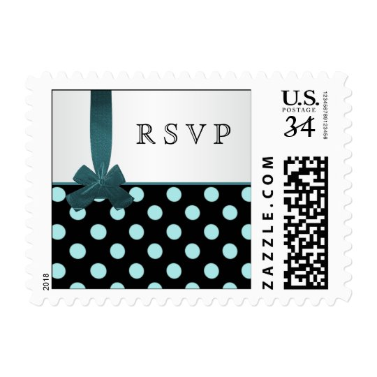 Black, white and teal polka dots Postage