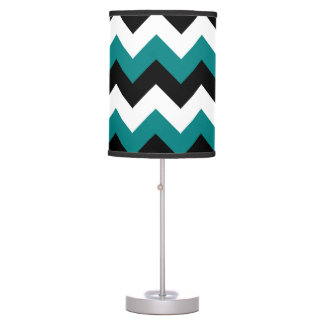 Black White and Teal Zigzag Table Lamp