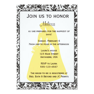 Black, White and Yellow bridal shower invitation