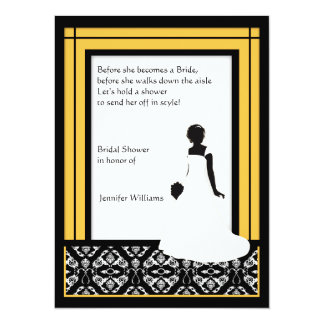Black, White and Yellow Damask Bridal Shower Card
