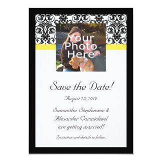 Black, White and Yellow Damask Photo Save the Date Card