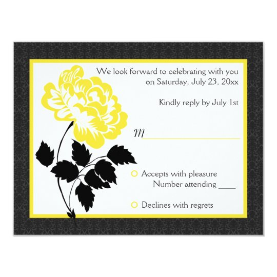 Black, White and Yellow Peony Reply Card