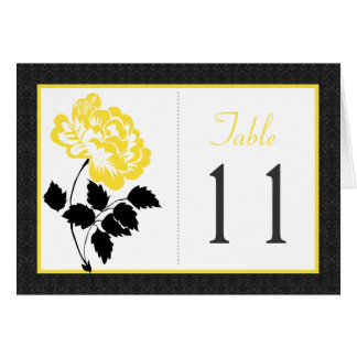 Black, White, and Yellow Peony Table Number Card