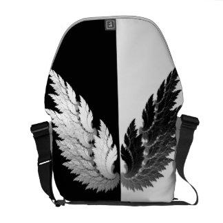 Black white Angel wings Messenger Bag