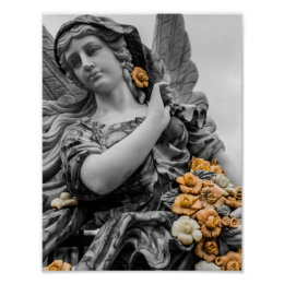 Black & White Angel with flowers Poster