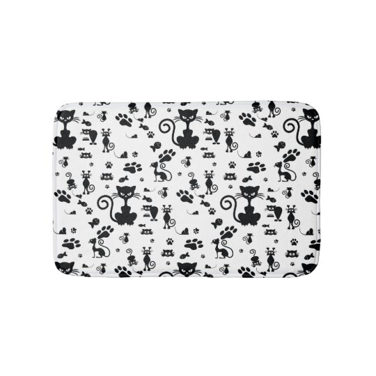 Black Amp White Angry Cat Bath Mat Zazzle Com