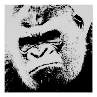 Black White Angry Gorilla Pop Art Perfect Poster