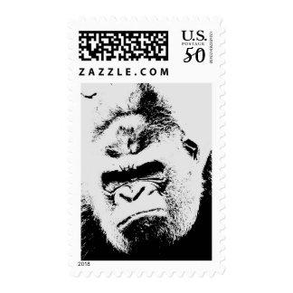 Black & White Angry Gorilla Postage