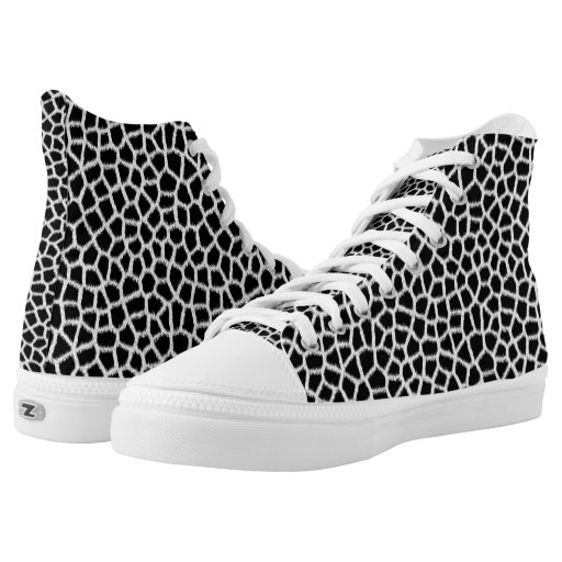 black white animal fur print zizzago printed shoes zazzle