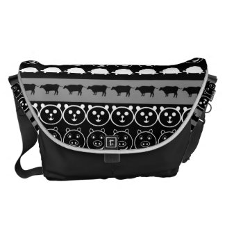 Black White Animals Modern Stripes Pattern #2 Courier Bag