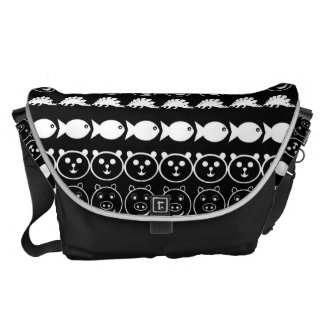 Black White Animals Modern Stripes Pattern Messenger Bag