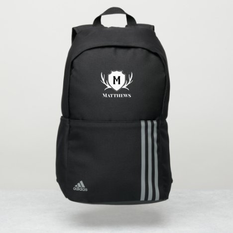 Black White Antler & Shield Rustic Monogram Adidas Backpack