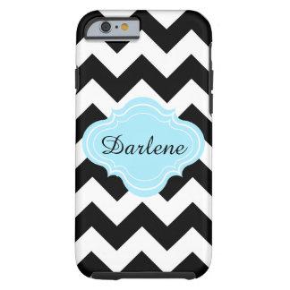 Black, White, Aqua, Chevron Zigzag Pattern Name Tough iPhone 6 Case