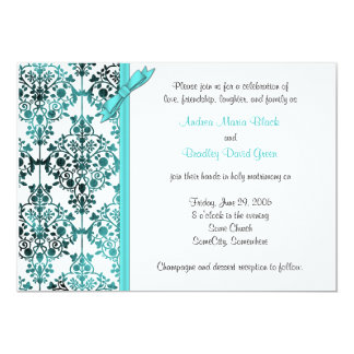 Black White Aqua Damask Floral Wedding Invitation